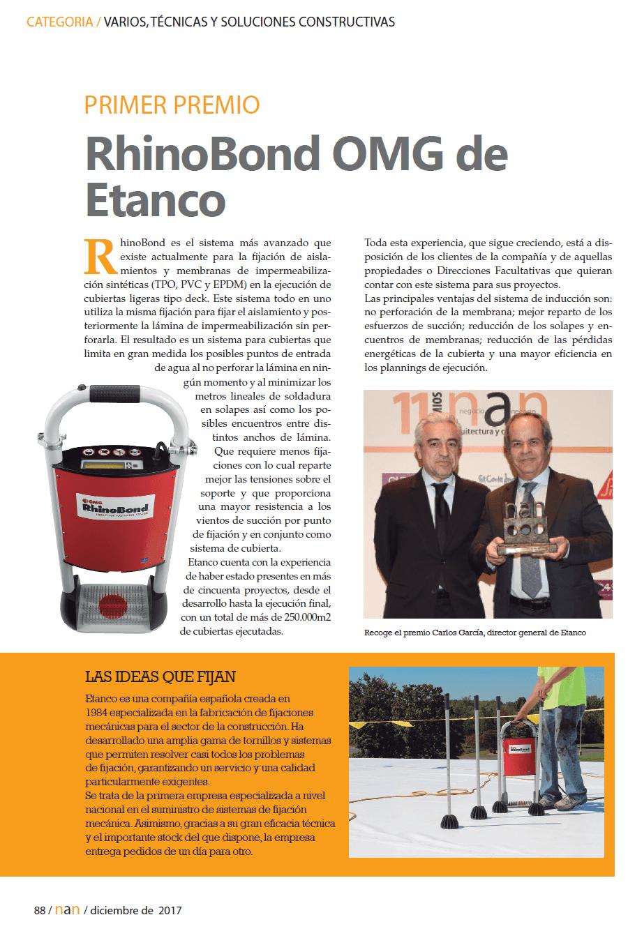 Premio RhinoBond OMG de Etanco